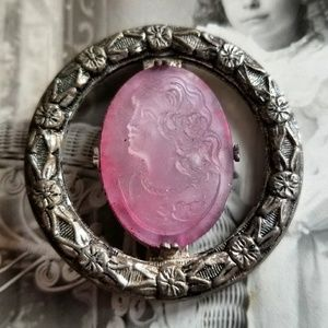 Antique pink glass cameo brooch silver tone